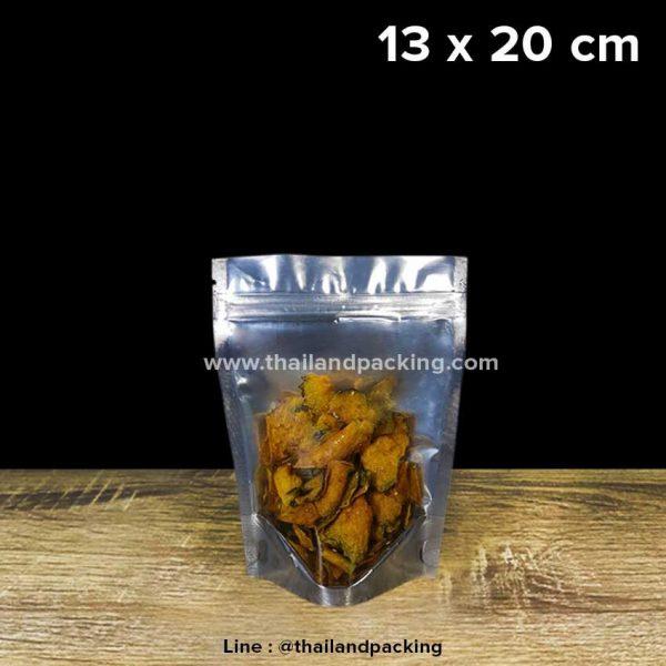 ถุงฟอยด์ ถุงซิปล็อค ด้านหน้าใส่ ด้านหลังทึบ ตั้งได้ 13 x 20cm (Food Grade)