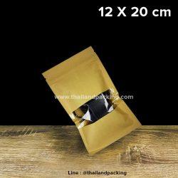 ถุงคราฟท์ หน้าต่างใส มีซิปล็อค ตั้งไม่ได้ ขนาด 12 x 20cm