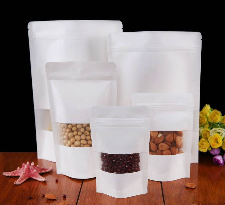 White Kraft With Window Ziplock Pouch Bag (Stand)
