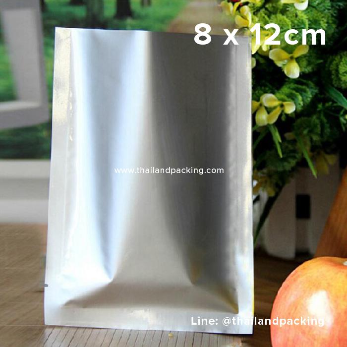 aซองซีล 3 ด้าน เนื้อพลาสติกเงา สีเงิน 8 x 12cm