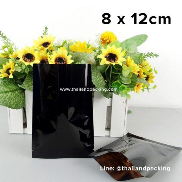 ซองซีล 3 ด้าน เนื้อพลาสติกเงา สีดำ 8 x 12cm