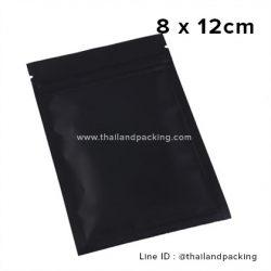 8 x 12cm ถุงซิปก้นแบน ตั้งไม่ได้ ดำด้าน (Matte Color)
