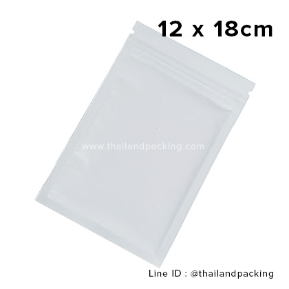 12 x 18cm ถุงซิปก้นแบน ตั้งไม่ได้ ขาวด้าน (Matte Color)