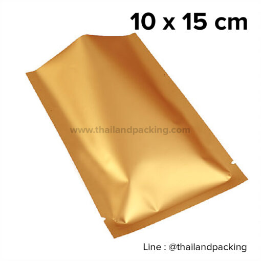 ซองซีล 3 ด้าน เนื้อพลาสติกเงา สีทอง 10x15cm