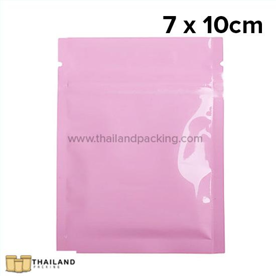 ถุงซิปก้นแบน ตั้งไม่ได้ สีชมพู 7 x 10cm