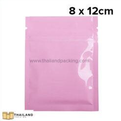 ถุงซิปก้นแบน ตั้งไม่ได้ สีชมพู 8 x 12cm