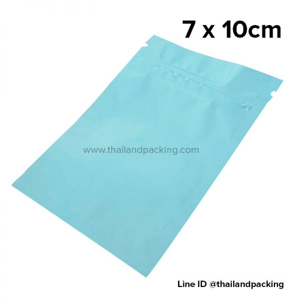ถุงซิปก้นแบน ตั้งไม่ได้ สีฟ้าน้ำทะเล 7 x 10cm