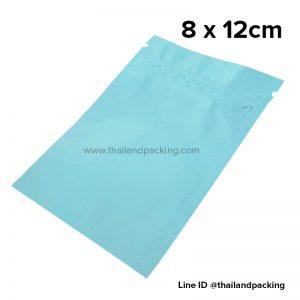 ถุงซิปก้นแบน ตั้งไม่ได้ สีฟ้าน้ำทะเล 8 x 12cm
