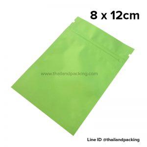 ถุงซิปก้นแบน ตั้งไม่ได้ สีเขียว 8 x 12cm
