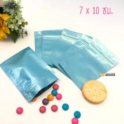 ถุงซิปล็อค ถุงฟอยด์ทึบ ก้นแบน สีฟ้า เนื้อเงา 710
