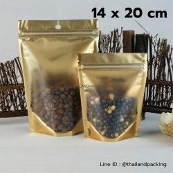 ถุงพลาสติกหน้าใสหลังสีทอง มีซิปล็อค ตั้งได้ 14x20cm