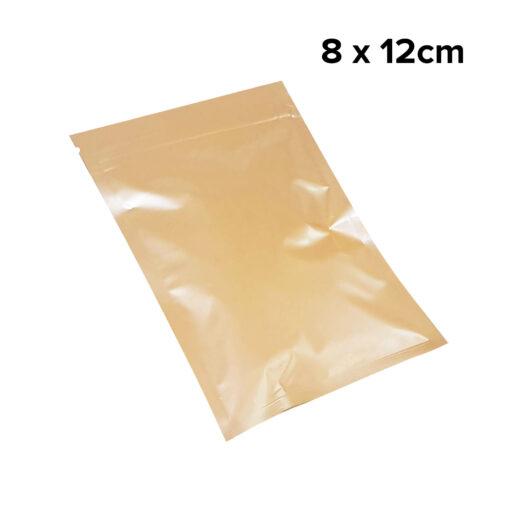 ถุงซิปก้นแบน ตั้งไม่ได้ สีส้ม 8 x 12cm