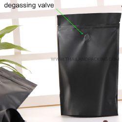 ถุงกาแฟ มีวาล์ว ถุงซิปล็อค ตั้งได้ สีดำ