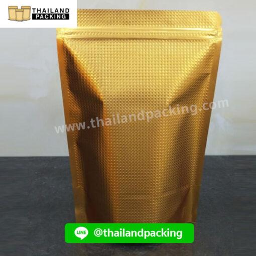 ถุงฟอยด์สีทองลายนูน หน้าต่างใส ตั้งได้