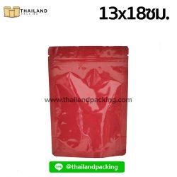 ถุงฟอยด์ทึบสีแดง-เนื้อมันเงา-ตั้งได้-13x18ซม