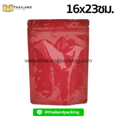 ถุงฟอยด์ทึบสีแดง เนื้อมันเงา ตั้งได้ 16x23ซม.