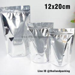 ถุงฟอยด์ทึบ ตั้งได้ ขนาด (Aluminized) 12×20+3 ซม.