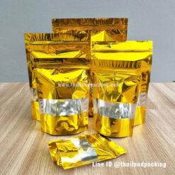 ถุงซิปล็อค ถุงฟอยด์ สีทองมีหน้าต่าง ตั้งได้
