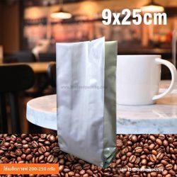 ถุงใส่กาแฟสีเงิน 9x25 เซนติเมตร (สำหรับเมล็ดกาแฟ 200-250 กรัม)