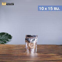 ถุงซิปล็อค ถุงฟอยด์ สีเงินลายนูน หน้าต่างใส สกรีนถุง งานสกรีน 10x15 ซม.