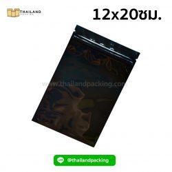 ถุงซิปล็อค-อลูมิไนซ์-เงา-ตั้งไม่ได้-สีดำ-12x20