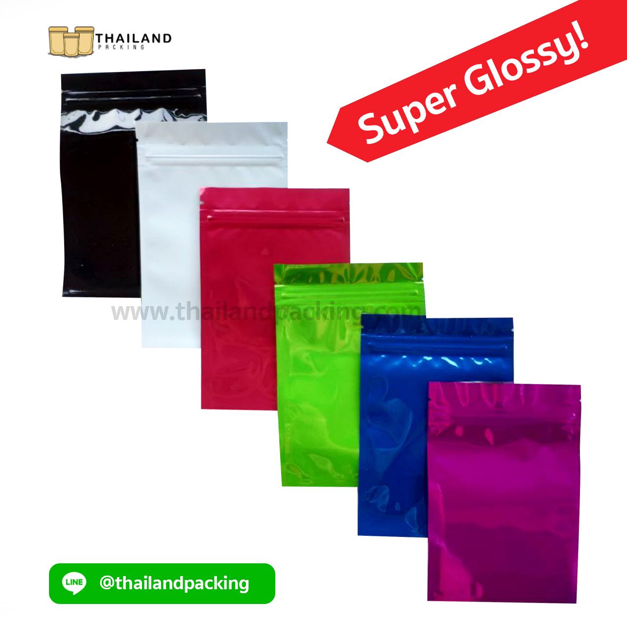 ถุงซิปล็อค อลูมิไนซ์ เงา ตั้งไม่ได้ (Super Glossy)