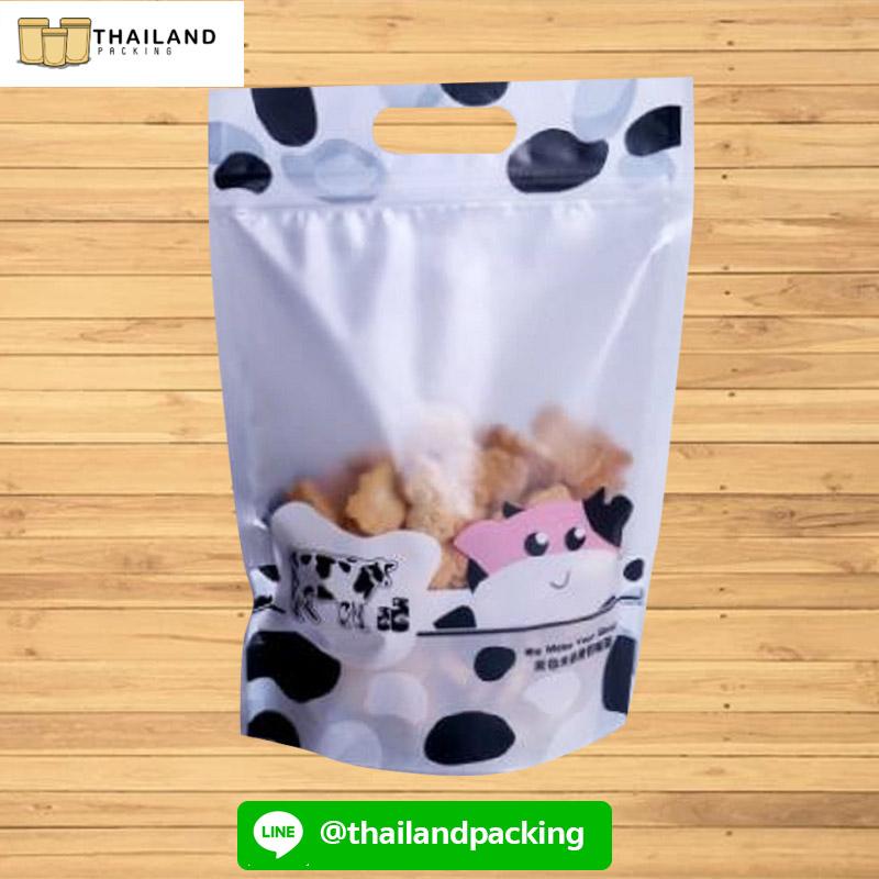 ถุงซิปล็อค ถุงใส่ขนม มีลาย ตั้งได้ (Cow Pattern)