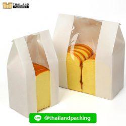 ถุงกระดาษคราฟท์ สีขาว มีหน้าต่าง ตั้งได้ ใส่ขนมปัง