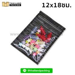 ถุงซิปล็อค ก้นแบน หน้าใส หลังลายทึบ สีดำ 12x18