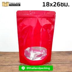 ถุงซิปล็อค ถุงฟอยด์ หน้าต่างวงรี ตั้งได้ (สีแดง) 18x26