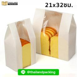 ถุงกระดาษคราฟท์ สีขาว มีหน้าต่าง ตั้งได้ ใส่ขนมปัง 21x32ซม.