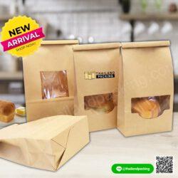 ถุงคราฟท์ใส่ขนมปัง มีลวดสำหรับปิดปากถุง มีหน้าต่าง ตั้งได้