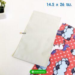 ถุงซิปล็อค ก้นแบน สีขาว เนื้อด้าน ขนาด 14.5x26 ซม. ตั้งไม่ได้