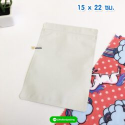 ถุงซิปล็อค ก้นแบน สีขาว เนื้อด้าน ขนาด 15x22 ซม. ตั้งไม่ได้