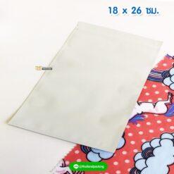 ถุงซิปล็อค ก้นแบน สีขาว เนื้อด้าน ขนาด 18x26 ซม. ตั้งไม่ได้