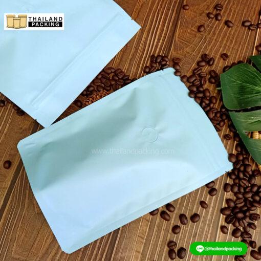 ถุงกาแฟ มีวาล์ว สีฟ้า พาสเทล ตั้งได้