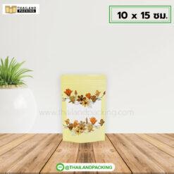 ถุงซิปล็อค เจาะหน้าต่างใส ลายดอกไม้เหลือง ตั้งได้