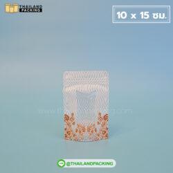 ถุงซิปล็อค เจาะหน้าต่างใส สีขาว พิมพ์ลายลูกไม้สีน้ำตาลทอง ตั้งได้