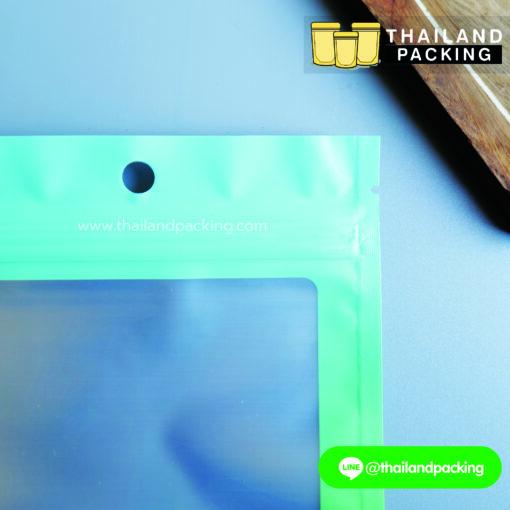 ถุงซิปล็อค ฟอยด์ แขวนได้ ทูโทน สีเขียวมิ้น-เขียว ตั้งไม่ได้