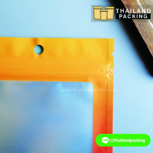 ถุงซิปล็อค ฟอยด์ แขวนได้ ทูโทน สีเหลือง-ส้ม ตั้งไม่ได้