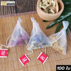 ถุงชา ถุงกรองชา เนื้อไนลอน สีขาว พร้อมเชือก ขนาด 6.5×8 ซม.